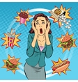 Fast food woman unhealthy diet panic vector image vector image