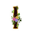 flower alphabet letter i decorated with roses and vector image vector image