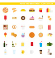 food and beverages icons color vector image vector image
