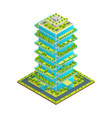 futuristic skyscraper with green roof concept 3d vector image vector image