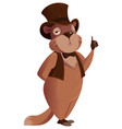 groundhog day groundhog stands and holds thumb up vector image