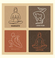 grunge yoga and pilates line emblems vector image vector image
