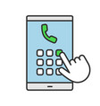 hand dialing phone number color icon vector image