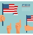 hand holding united states america flag vector image
