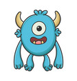 happy cyclops cartoon furry creature monster vector image vector image