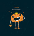 happy halloween card with pumpkin cartoon vector image vector image