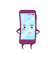 humanized mobile phone with sad face smartphone vector image vector image