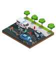 Isometric Car Accidents Composition vector image