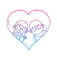 line boy and girl with glasses inside heart design vector image vector image