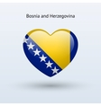 Love Bosnia and Herzegovina symbol Heart flag icon vector image vector image