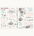 meat dishes recipe hand drawn sketches vector image