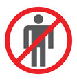 no people glyph icon prohibited and ban no human vector image vector image