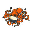 octopus playing drum color sketch vector image