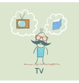 one thinks of the TV and book vector image vector image