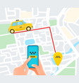ordering taxi service car on way vector image