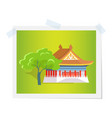 oriental house or theatre near green tree image vector image vector image