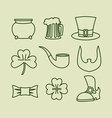 Patricks day icons set Linear symbols for Irish vector image