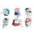 people hug pet cats vector image