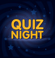 quiz night neon light sign in retro twist vector image