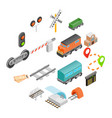 railroad isometric 3d icons vector image