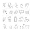restroom isolated outline icons toilet hygiene vector image