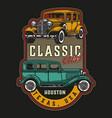 retro cars vintage colorful label vector image