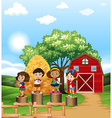 Scene with kids in the farm vector image vector image