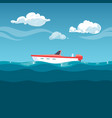 sea red boat rocking on waves vector image vector image