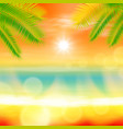 sea summer sunset with palmtree and light on lens vector image vector image