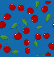 seamless pattern cherry on blue background vector image vector image