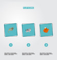 set of alive icons flat style symbols with cow vector image