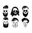 set of hairstyles for men in glasses collection vector image vector image