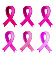 set six of pink ribbons world breast cancer day vector image vector image