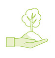 silhouette hand with natural tree and ground icon vector image