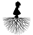 silhouette of a girl with root vector image vector image