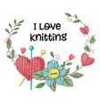simple with knitting needle knitting vector image vector image