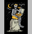 skull eating pizza at grave vector image vector image