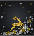 snowflakes and golden glitter deer vector image vector image