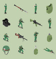 soldier equipment isometric set vector image vector image