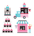 sweet food business design elements icons vector image vector image