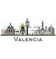 valencia spain city skyline with color buildings vector image vector image