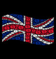 waving great britain flag pattern of discount tag vector image