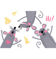 welcome card with cute and funny rats mouse vector image vector image