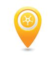 wheel icon yellow map pointer vector image vector image