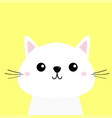 white cat kitten funny head baface moustaches vector image