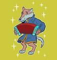 wolf plays accordion harmonica fairytale vector image