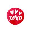 xoxo text and heart watercolor banner design vector image vector image