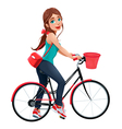 Young smiling woman on a bicycle vector image vector image