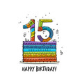 15th anniversary celebration greeting card vector image vector image
