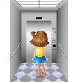 A little girl at the elevator vector image vector image
